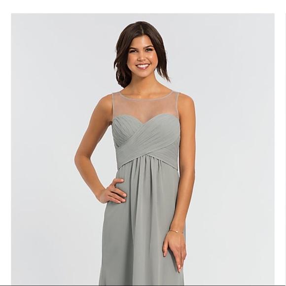 d2783bb965 Illusion-Neckline Grey Chiffon Bridesmaid Dress. NWT. Kleinfeld Bridal